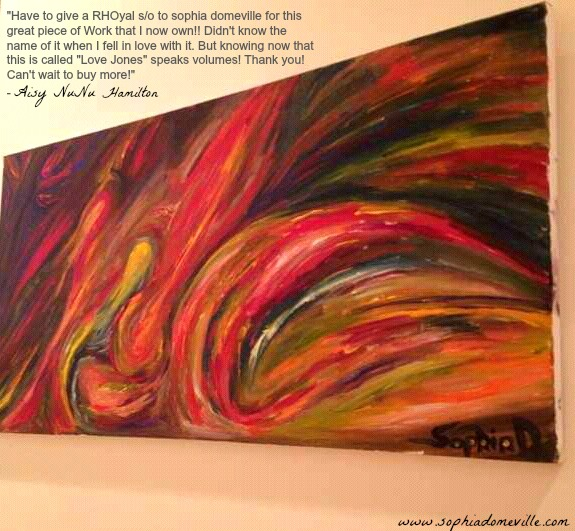 """It is always a pleasure knowing the work of Haitian American Artist, Sophia Domeville inspire others!  Ms. Domeville painting, """"Love Jones"""" was recently sold to new client Ms. Hamilton after falling in love from an image posted on her page!"""